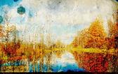 Autumn landscape on grunge background — Stock Photo