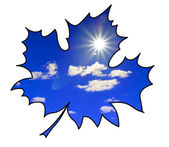Silhouette of the maple leaf on white background — Stock Photo