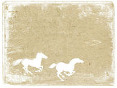 Koně na pozadí grunge — Stock fotografie