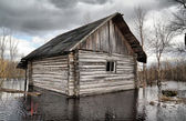 Old rural house in water — Stock Photo