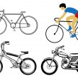Stock Vector: Set bicycle on white background
