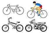 Set bicycle on white background — Stock Vector