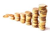 Stosy monet złotych — Zdjęcie stockowe