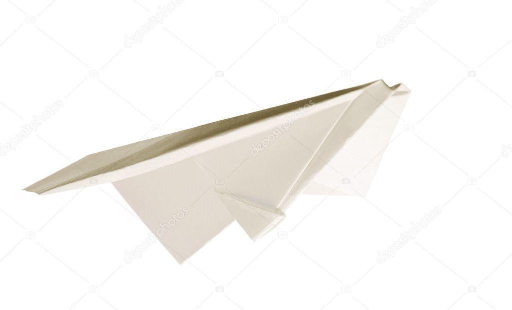 孤立在白色背景上的纸飞机– 图库图片