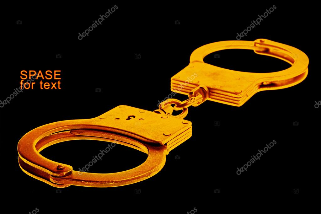Handcuffs isolated on black background — Stock Photo #7291299