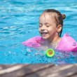Joyful little girl swimming in the pool. — Stock Photo #7154203