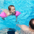 Joyful little girl with dad in the pool — 图库照片