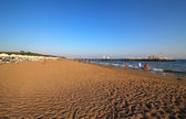 Playa de arena. mar mediterráneo. turquía. — Foto de Stock