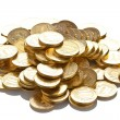 Pile of golden coins isolated on white — Stock Photo #7470263