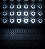 Wall of speakers collage — Stock Photo