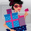 Stock Vector: Fashion shopping girl
