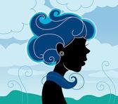 Beautiful girl silhouette — Stock Vector