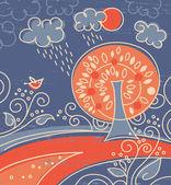 Cartoon achtergrond, scène met bomen en bloemen — Stockvector