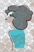 Beautiful woman in retro style — Stock Vector