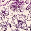 Seamless floral pattern with orchid - Stock Vector