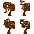 Beautiful women silhouettes — Stock Vector