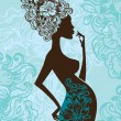 Silhouette of pregnant woman in flowers — Image vectorielle