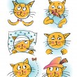 Collection of cartoon cats — Stock Vector