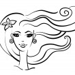 Vector de stock : Beautiful girl linear silhouette