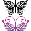 Stock Vector: black and color silhouette of butterfly