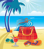 Summer objects on beach background — Stock Vector