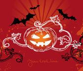 Halloween illustration with pumpkin — Stock Vector