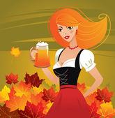 German girl serving beer on Oktoberfest — Stock Vector