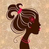 Mooie vrouw silhouet met bloemen — Stockvector