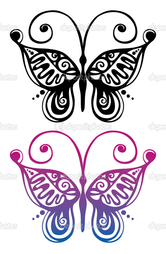 Black and color silhouette of butterfly — Stock Vector #7308012
