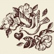 Bird with heart and flowers. Hand-drawn illustration — Stockvectorbeeld