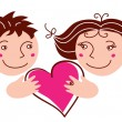 Royalty-Free Stock Vectorielle: Cartoon boy and girl in love