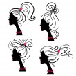 Beautiful women silhouettes — Vector de stock #7319402