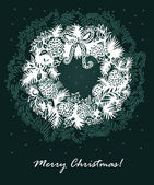 Greeting card with Christmas wreath — Stockvector