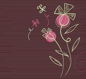 漫画トンボと花の背景 — ストックベクタ