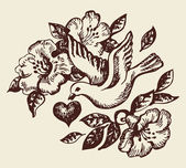 Bird with heart and flowers. Hand-drawn illustration — Vecteur