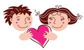 Kreslený chlapec a dívka v lásce — Stock vektor