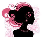 Beautiful woman silhouette with flowers — Stock Vector