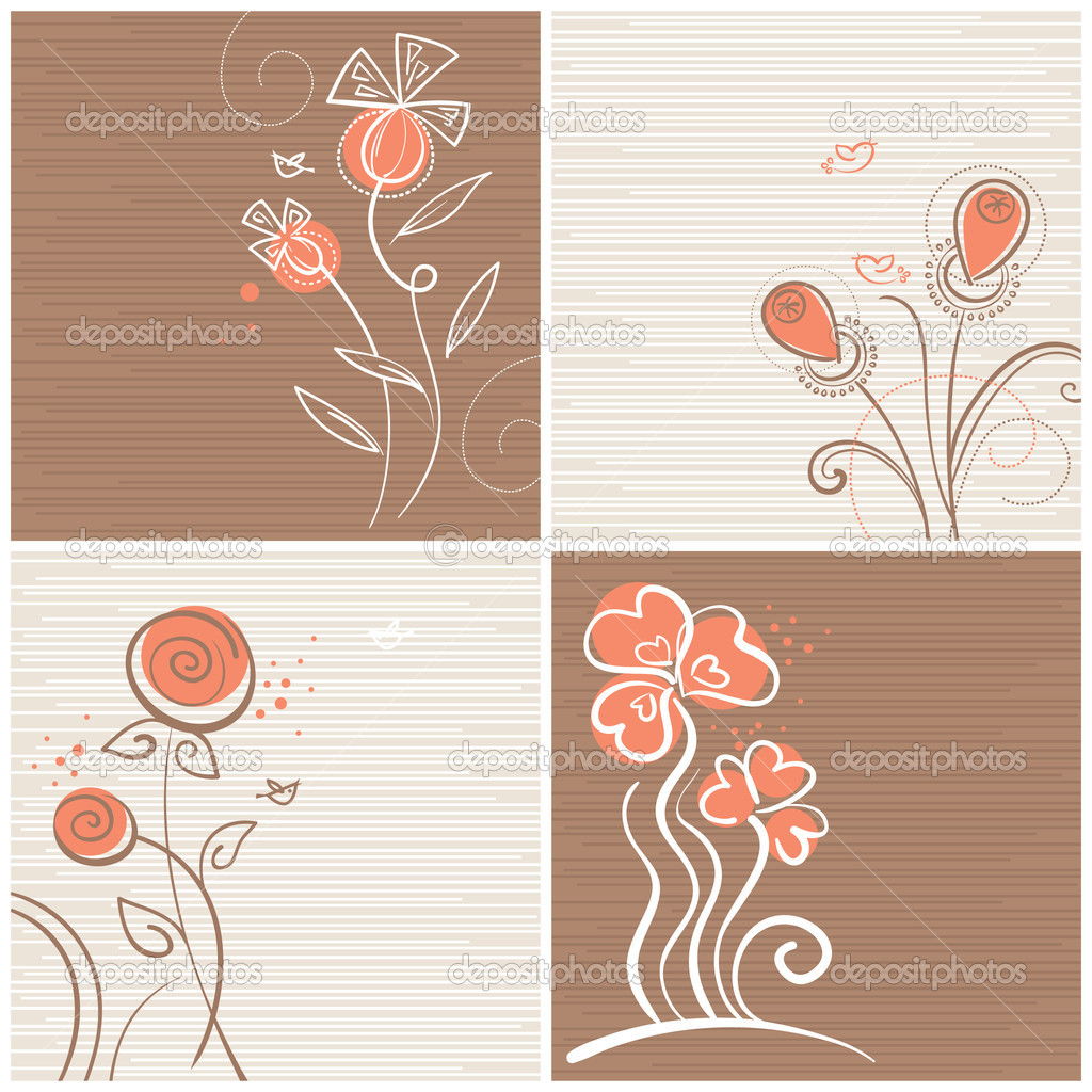 Set of floral backgrounds  — Stock Vector #7344436