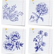 Hand-drawn doodle flower set in sketchbook — Vector de stock #7364224