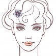 Beautiful womportrait, linear illustration — Vettoriale Stock #7364652