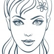 Beautiful womportrait, linear illustration — стоковый вектор #7364754