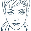 Stock vektor: Beautiful womportrait, linear illustration