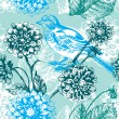 Floral seamless pattern with bird — Stock Vector