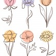 Stock Vector: Flower set