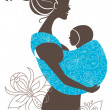 Beautiful mother silhouette with baby in a sling — Stock Vector
