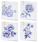 Hand-drawn doodle flower set in sketchbook — Stock Vector