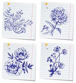 Hand getrokken doodle bloem instellen in schetsboek — Stockvector