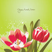 Floral background with tulips — Stok Vektör