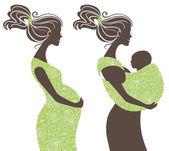 Beautiful women silhouettes — Stock Vector