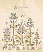 Kreslené pozadí s květinami a pták — Stock vektor